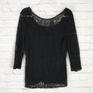 Adrianna Papell Lined Lace Overlay 3/4 Sleeve Top